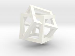 4d Cube in White Processed Versatile Plastic