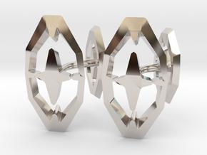 HEAD TO HEAD 44, Bend Cufflinks in Rhodium Plated Brass