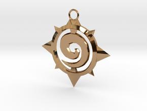 Hearthstone Logo Keychain in Polished Brass