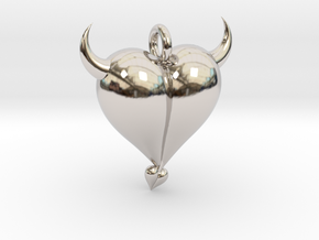 Evil Heart in Rhodium Plated Brass