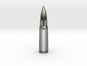 7.62x39 Ammo Blank in Fine Detail Polished Silver