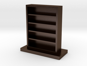 Empty Bookcase in Polished Bronze Steel