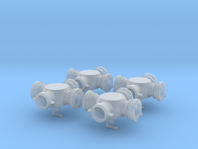 1/24 scale Hydrassist Hydrant Valves Set of 4 in Smooth Fine Detail Plastic