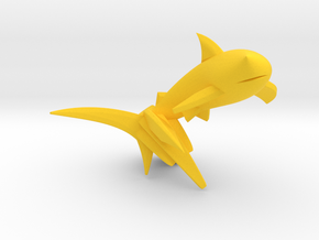 Key Chain - Jumping Shark  in Yellow Processed Versatile Plastic