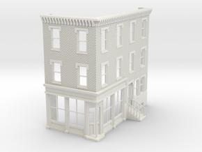 O scale Philadelphia corner Store Front 3 stories  in White Natural Versatile Plastic