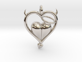 Devil Outside Angel Inside in Rhodium Plated Brass
