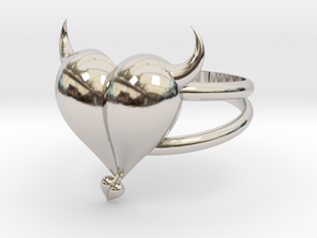 Size 8 Evil Heart Ring in Platinum