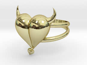Size 6 Evil Heart Ring in 18k Gold Plated Brass
