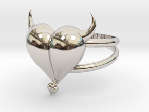Size 6 Evil Heart Ring in Rhodium Plated Brass