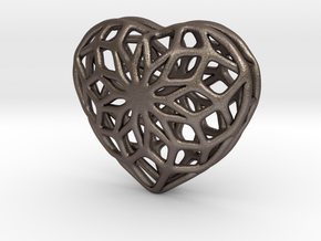 Valentine Heart - Big in Polished Bronzed Silver Steel