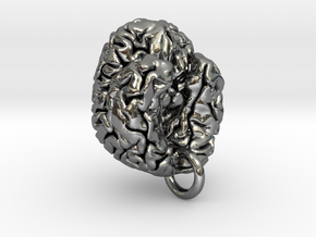 Human brain in Fine Detail Polished Silver