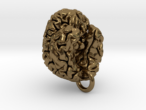 Human brain in Polished Bronze