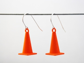 Traffic Cone Earrings in Orange Processed Versatile Plastic