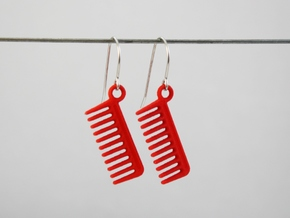 Comb Earrings in Red Processed Versatile Plastic