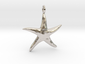 Star Fish With Ring in Rhodium Plated Brass