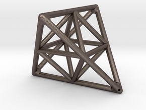 Tetrahedron with Octahedron in Polished Bronzed Silver Steel