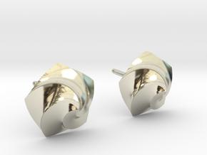 Swirl Earrings in 14k White Gold