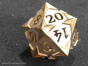 'Starry' D20 Spindown Life Counter Die in Polished Brass