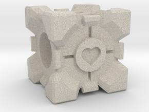 Companion Cube Bead in Natural Sandstone