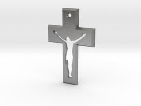 Crucifix Beta 3x2cm in Natural Silver