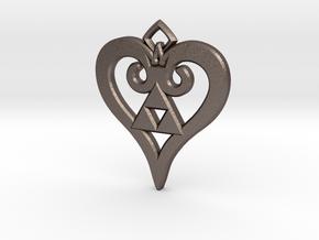 Kingdom Triforce in Polished Bronzed Silver Steel