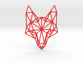 Geometric Fox Head  in Red Processed Versatile Plastic