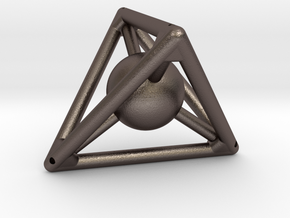 Small Tetra with Sphere (small reinf.) in Polished Bronzed Silver Steel