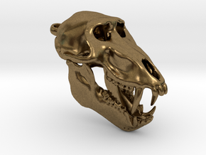 Baboon Skull Pendant (Open Jaw) in Raw Bronze
