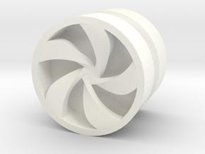 PINWHEEL_1814CS_RIGHT - LEGO-compatible Custom Rim in White Processed Versatile Plastic
