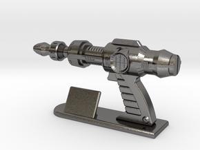 Futuristic Proton Pistol Miniature in Polished Nickel Steel