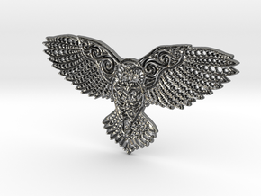 Owl Pendant in Fine Detail Polished Silver