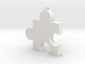 Small Jiggy Pendant in White Natural Versatile Plastic