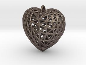 Heart Pendant #2 in Polished Bronzed Silver Steel