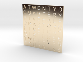 Timesquare Wordclock faceplate (Helvetica font) in 14k Gold Plated Brass