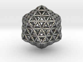 Flower Of Life Icosahedron in Polished Silver
