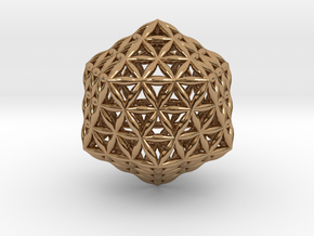 Flower Of Life Icosahedron in Polished Brass
