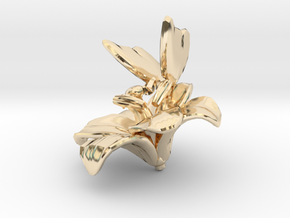Butterfly And Lily Flower 1 Rock - M in 14K Yellow Gold