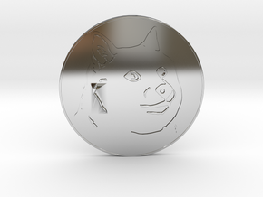 Dogecoin in Fine Detail Polished Silver