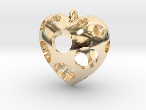 Heart Pendant #3 in 14k Gold Plated Brass