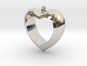 Heart Pendant #4 in Rhodium Plated Brass