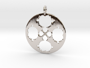 Mandelbrot Clover Pendant in Rhodium Plated Brass