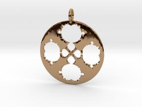 Mandelbrot Clover Pendant in Polished Brass