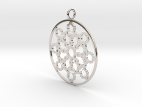 Mandelbrot Web Pendant in Rhodium Plated Brass