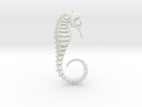 Seahorse Ornament in White Strong & Flexible