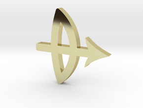 A pendant  of Sagittarius. in 18k Gold Plated Brass