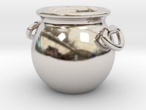 Cauldron Miniature in Rhodium Plated Brass