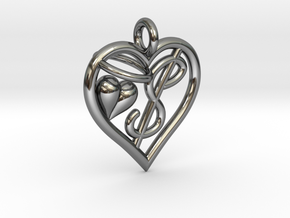 HEART $ in Fine Detail Polished Silver