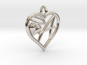 HEART A in Rhodium Plated Brass