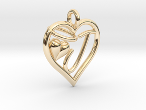 HEART J in 14k Gold Plated Brass