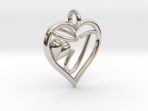 HEART J in Rhodium Plated Brass